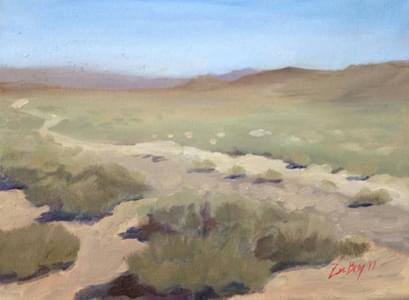 'Looking East of Fallon, Nevada'. Oil on canvas. 4 x 6 inches. 2012.