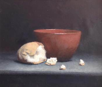 'Bread and water'. Oil on canvas mounted on wood panel. 4 x 6 inches. 2010.